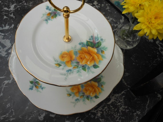 SALE 20% ..1950's Vintage CAKE STAND - Two Tier -  Golden Wedding -  English Bone China -  Yellow Rose - Queen Anne - China plates