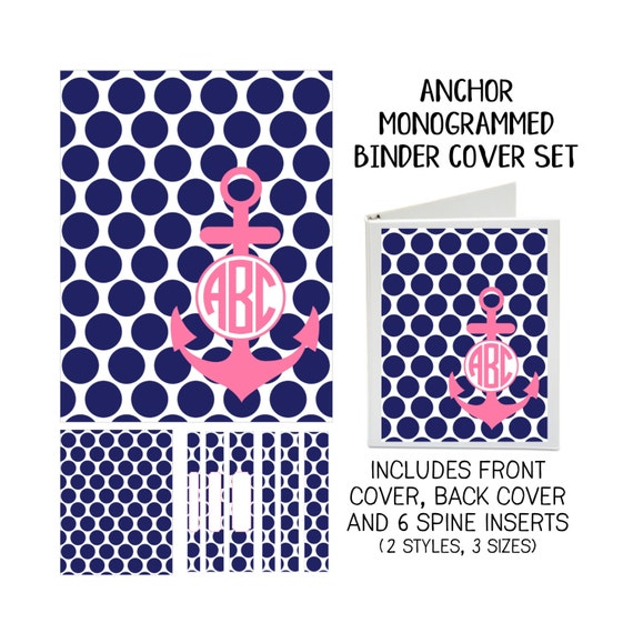 Anchor Printable Binder Cover Set with Front & Back Covers and Spine inserts - Personalized- Dress up Your Three Ring Binder!
