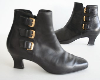 "Black Leather Ankle Boots, Gold Buckle Ankle Boots, Size 6, Enzo Angiolini Vintage Leather Boots, High Heel Boots ""Voyage"""