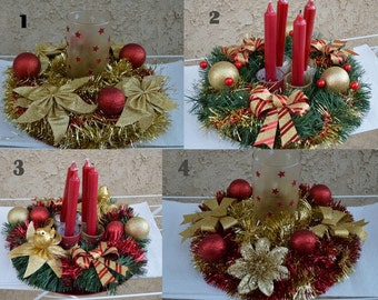 Christmas centerpiece, Christmas candle holder , Christmas decor