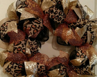 Black Deco Mesh Cheetah Wreath. Free Shipping.