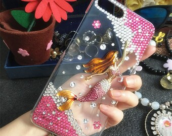 Lovely Hot Pink Mermaid Fairytale Bling Luxury Fashion Sparkles Charms Crystals Rhinestones Diamonds Gems Hard Cover Case for Mobile Phone