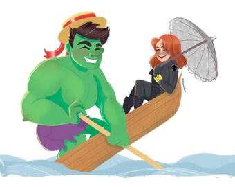 Hulk and Black Widow Comic Cuties A4 Print