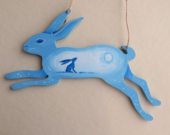 Painted Wooden Hare