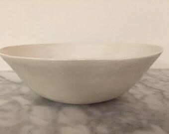 White Porcelain high gloss wheel-thrown serving bowl