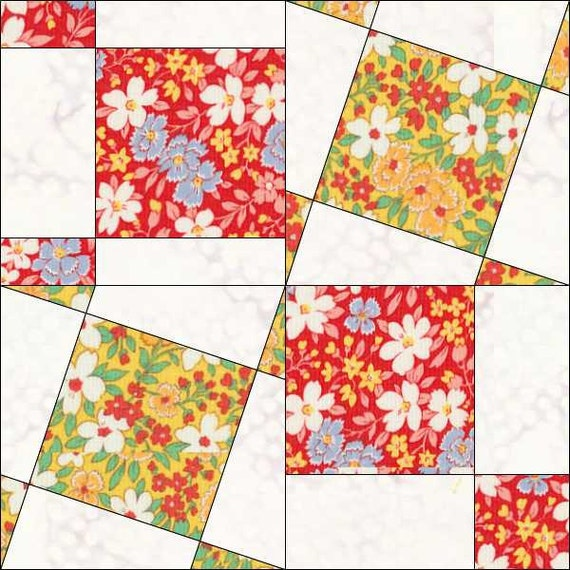 Square Block 6x6 Inch Geometric Pattern Tilted Squares