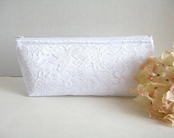 Satin And Lace Clutch - Bridesmaid Makeup Bag - Wedding Clutch - White Satin Clutch - Bridesmaid Clutch - Bridal Clutch - White Lace Clutch