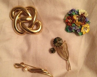 4 Vintage Brooches