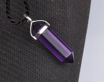 Amethyst Polished Point Pendant, Silver Bail with a free Chain#222