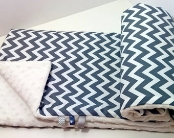 Super Soft Minky Blanket - Grey Chevrons/White Robert Kaufman