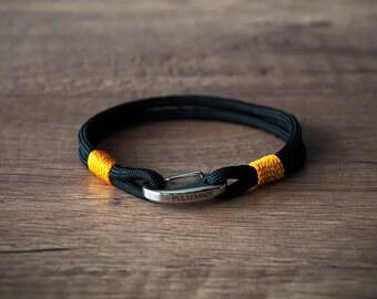 Sailor Bracelet men-Women, jewelry for men women, nautical bracelet black-goldenrod, Christmas gift, bracelet for her and him