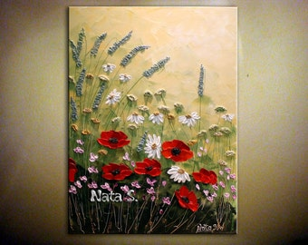 Original Modern Wildflower Painting.Palette Knife.Impasto.Flower.Poppy.Landscape.Thick Painting  - by Nata ...MADE to ORDER