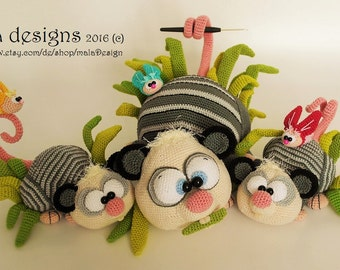 opossums, extensive crochet pattern by mala designs