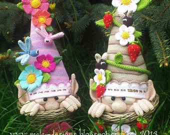 garden gnomes, crochet pattern by mala designs ®