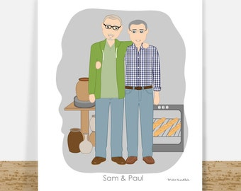 Love gay art, gay custom portrait, personalized gay gift ideas, gay men illustration, printable wall art