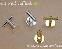 WHOLESALE Cufflink Blanks-Silver Cufflinks-Cuff Link Trays Blank-Silver Plated Cuff links-8mm round flat cufflink trays-2 color-Select Qty