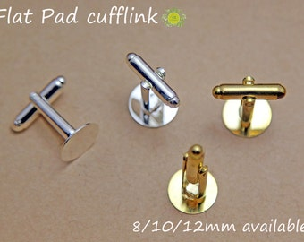 WHOLESALE Cufflink Blanks-Silver Cufflinks-Cuff Link Trays Blank-Silver Plated Cuff links-8mm round flat cufflink trays-2 color-Select Qty