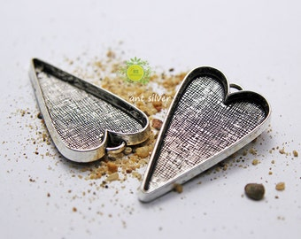 Large Heart Pendant Trays blank-Antique Silver or Bronze Bezels Settings-Resin bezel tray blank-Cameo Base Setting Blank-3 Color-Choose Qty