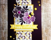 Modern Birthday Card, with bumble bee, and stamped punched flowers