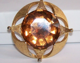 Signed Corocraft Atomic Amber Rhinestone Brooch Pin Gold Tone Metal Coro Retro Vintage Jewelry