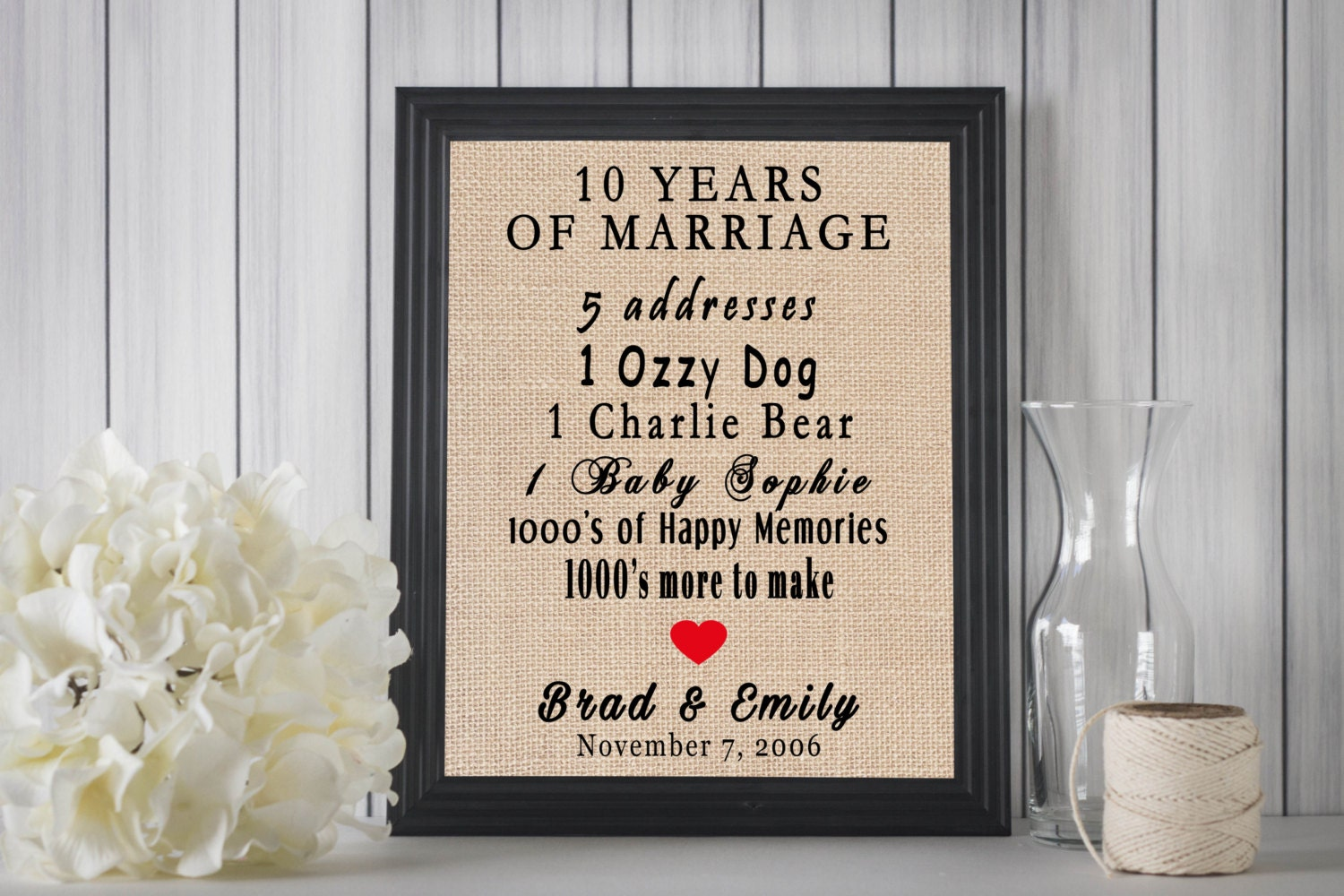 10 Years Wedding Anniversary Gift Ideas: 10 Years Of Marriage // 10 Year Anniversary Sign // 10 Year