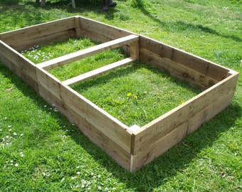 Large Tanalised Wooden Vegetable Raised beds, 30cm high, 180cm or 240cm Long