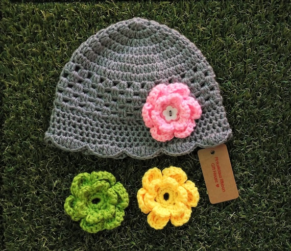 Interchangeable Crochet Flower Pattern : Crochet Interchangeable Flower Baby Hat by PinkaliciousRibbon