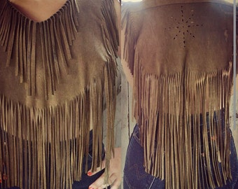 Fringe Leather Caplet-Vintage Fringe-Leather Fringe Bib-Fringe Collar-One Size