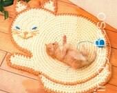 Cat Crochet PATTERN Vintage Cat Rug Crochet Pattern plus Free 1950s Granny Square Pattern Instant Download PDF Pattern