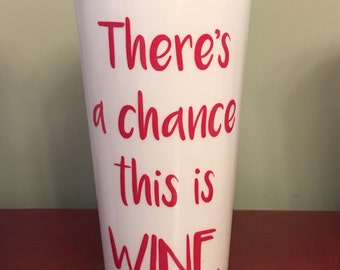 Funny Coffee Tumbler-Mom Drink-There's A Chance This Is Wine-16 oz BPA free Plastic Travel Mug with Black Screw On Lid-Fun Girl Gift