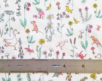 """Liberty London Theo B 10""""x26"""" Fat Eighth Pink Green Tana Lawn Fabric"""