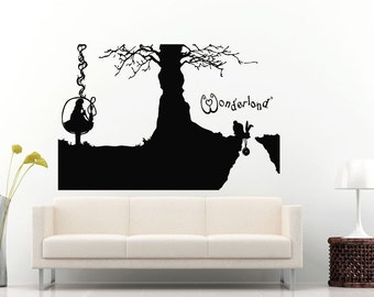 Adventures In Wonderland Fantasy Magic Wall Decal Vinyl Sticker Mural Room Decor L1318