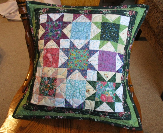 Green Quilted Throw Pillow Floral Patchwork by MommaBearsQuilts