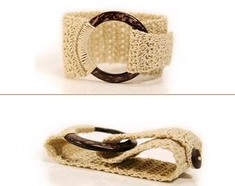 Circle bracelet - o ring bracelet - beige - everyday bracelet - crochet jewelry - crochet bracelets - cotton - jump ring bracelet