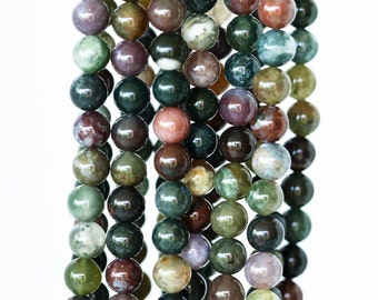 2133_Natural agate beads 8.5 mm, Round beads, Multi-colored beads, Green beads, Brown beads, Agate stone, Agate natural bead, Agate gemstone