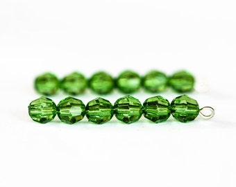 1453_Green beads 6 mm, Transparent beads, Plastic beads for jewelry making, Virid round beads, Faceted acrylic beads, Emerald rondelle beads