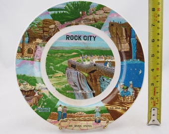Vintage Rock City, Lookout Mountain, Tennessee Souvenir Plates, See Seven States