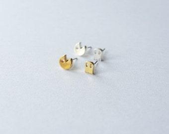 Pacman + ghost mini stud earrings