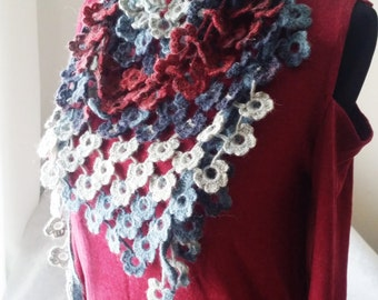Crochet Shawl - Crochet Scarf - Crochet Neck Warmer