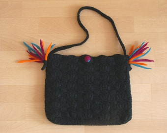 Felted Bag / crocheted - will be shipped free of postage