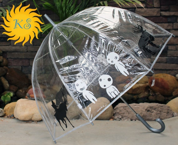 Princess Mononoke Themed Vinyl Custom Cut Bubble Umbrella