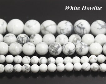 White Howlite beads,Smooth Round Gemstone Beads,4mm 6mm 8mm 10mm 12mm 14mm 16mm White Howlite beads,15 inches 1 strand
