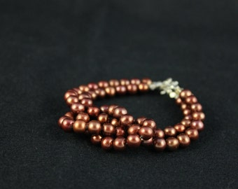 Copper Pearl Knotted Bracelet