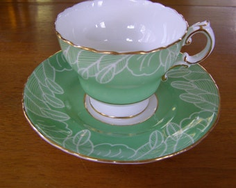 Vintage Green Cauldon England Bone China Tea Cup & Saucer