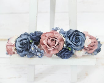 Mauve and navy flower crown - wedding floral hair wreath - flower headpiece - flower hair accessories for girls