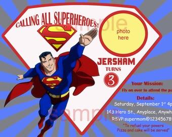 Superman Invitation. Superman Birthday Invitation. Superhero Invitation. Digital (you print)