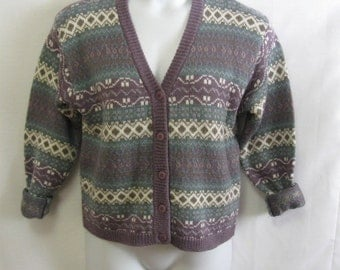 Vintage Misses S Wool Blend Button Front Sweater, Misses S Small Wool Blend Cardigan, Preppy Revival Wool Blend Button Front Sweater