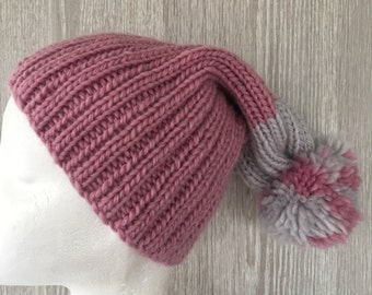 Knitted pink slouchy Pompom beanie, pink slouch, ladies pink beanie, knitted grey slouchy beanie, chunky beanie, pink beanie, ladies beanie,