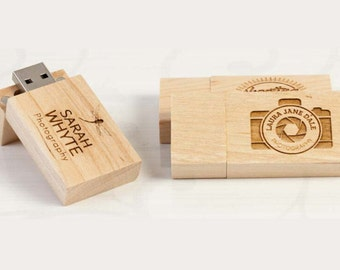 Custom 16GB Wedding Natural Maple or Walnut Wooden USB 2.0 Flash Drive Memory Stick