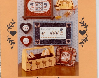 Stencil and Cross Stitch Pattern Unused Craft Pattern Sewing Pillow Wall Hangings